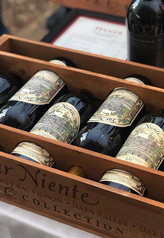 Wine bottles in a wooden box