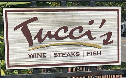 Tuccis sign outside of restaurant