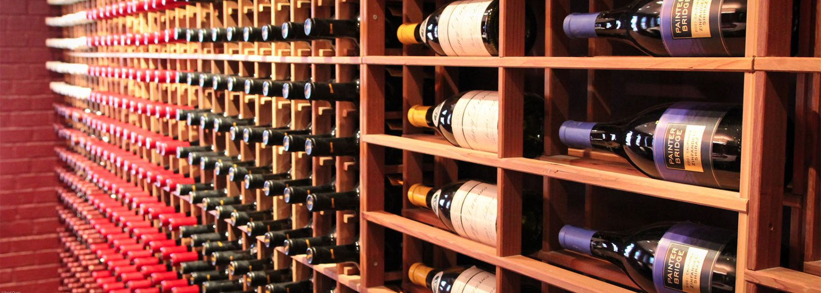 Wine Bottles displayed in wine cellar