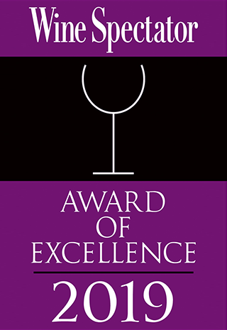 Wine Spectator Award of Excellence 2019. Learn more at WineSpectator.com.