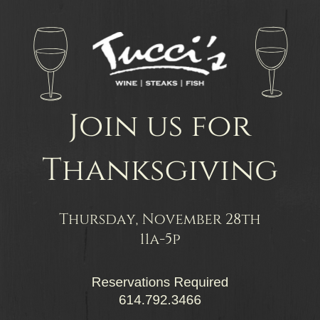 Join us for Thanksgiving Thursday November 28, 2019 11am to 5pm. Reservations required.