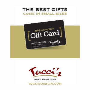 Tucci's Gift Card promotional graphic that reads The Best Gift Come in Small Sizes with an image of a Tucci's gift card and the Tucci's logo.