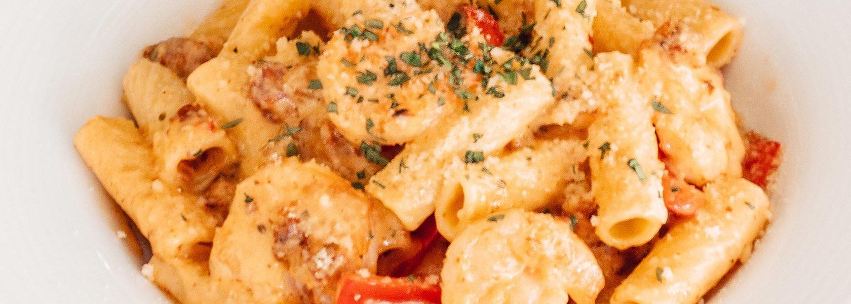 Rigatoni pasta with shrimp.